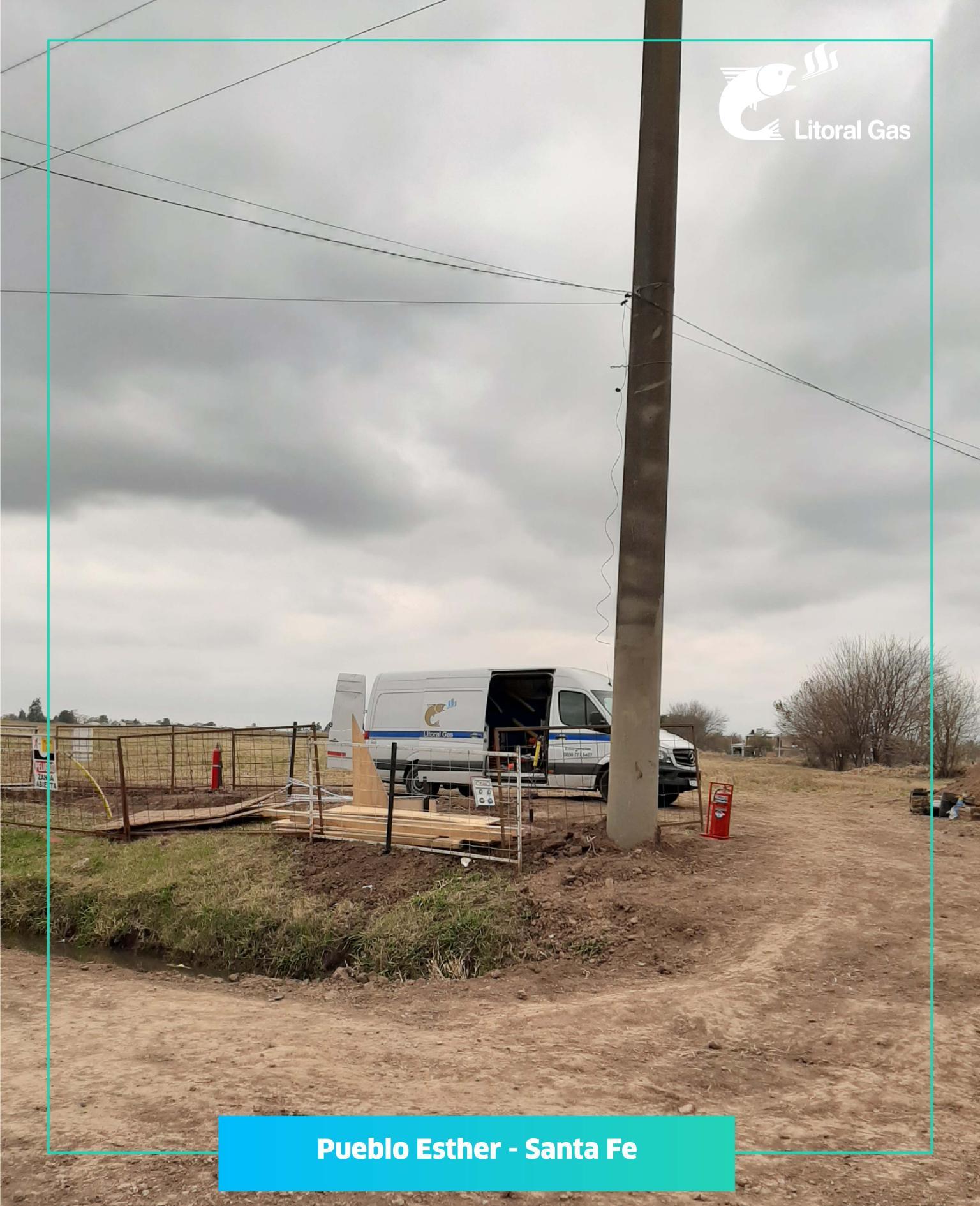 LITORAL GAS: Trabajos de ampliación de la red en Pueblo Esther, provincia de Santa Fe