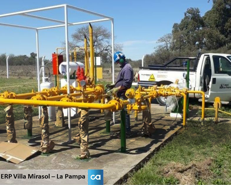 CAMUZZI: Inversión en mantenimiento de instalaciones de las Estaciones Reguladoras de Presión, en Villa Mirasol, La Pampa.